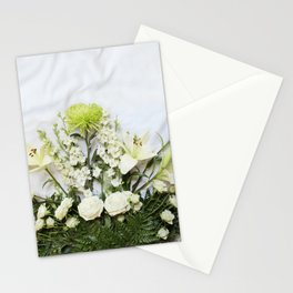 Green and Cream Flowers Stationery Cards