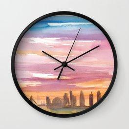London United Kingdom Skyline in Golden Sunset Mood Wall Clock