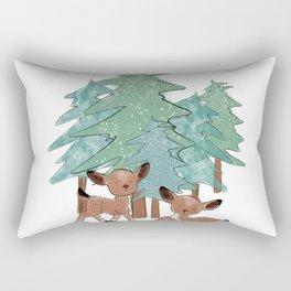 Little Deers In A Winter Landscape Rectangular Pillow