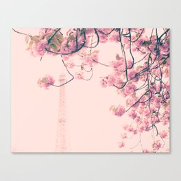 Parris in pink, Eiffel Tower and Cherrie Blossoms Canvas Print