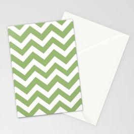 Olivine - green color - Zigzag Chevron Pattern Stationery Cards