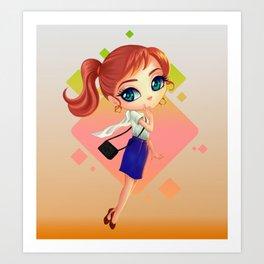 littlegirl with bag Art Print