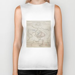 Vintage Battle of Bunker Hill Map (1775) Biker Tank