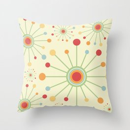 Mid Century Modern Retro 1970s Inspired SunBurst in Muted Colors Throw Pillow