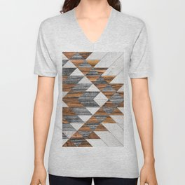 Urban Tribal Pattern No.12 - Aztec - Wood Unisex V-Neck