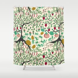 Fairy seamless pattern garden with plants, tree and flowers Shower Curtain