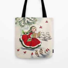 Vintage Christmas Girl Tote Bag