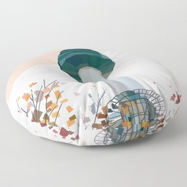 Geometric N Seoul Tower, South Korea Floor Pillow