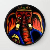 ganesh Wall Clocks featuring Ganesh by Brian J Farrell