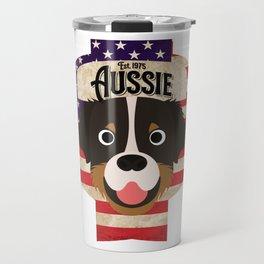 Australian Shepherd Dog - Distressed Union Jack Aussie Beer Label Design Travel Mug