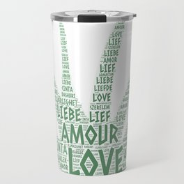 Alove Vera Plant illustrated with Love Word of different languages Travel Mug