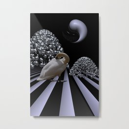 swan under a  yinyang moon Metal Print