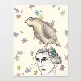 Spring Bird and Wildflowers Canvas Print