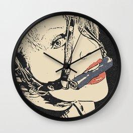 Pet slave games, horse gag girl, sexy blonde woman in BDSM, fetish erotic, kinky adult artwork Wall Clock