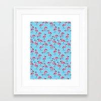 flamingos Framed Art Prints featuring Flamingos by WanderingBert / David Creighton-Pester