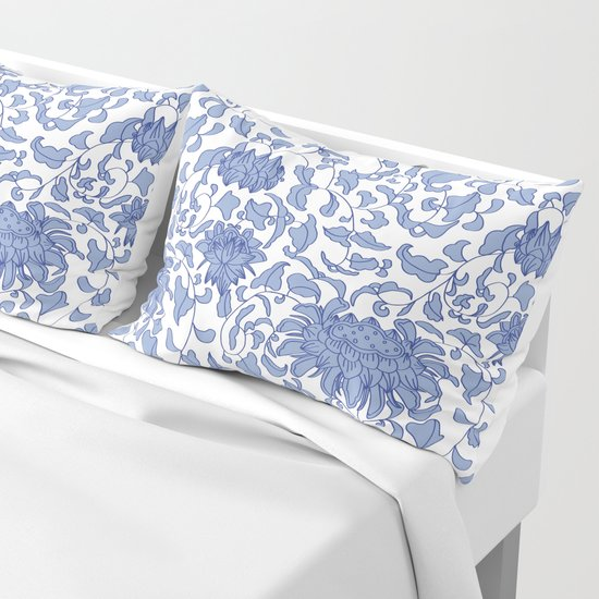 Chinoiserie Vines in Delft Blue + White by elliottdesignfactory