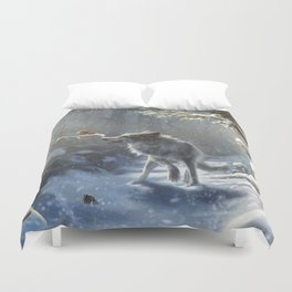 Friends: Wolf & Squirrel in Winter Duvet Cover