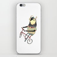 bike iPhone & iPod Skins featuring Deer on Bike.  by Ashley Percival illustration