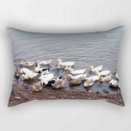 A Flock of ducks on the Mekong River Bank Rectangular Pillow