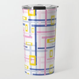 pink, blue, plaid  #abstract #geometric #modern Travel Mug