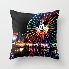 Paradise Pier at Night Throw Pillow
