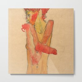 """Egon Schiele """"Girl Nude with Folded Arms"""" Metal Print"""