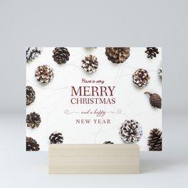 Merry Christmas Modern Holiday Greeting White Mini Art Print