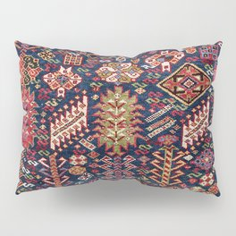Ornamental Midnight Blue Shekarlu 19th Century Authentic Colorful Zig-Zag Vintage Patterns Pillow Sham