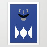 power ranger Art Prints featuring Power Rangers - Blue Ranger Minimalist by TracingHorses
