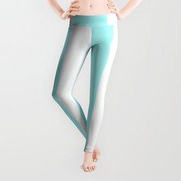 Wide Vertical Stripes - White and Celeste Cyan Leggings