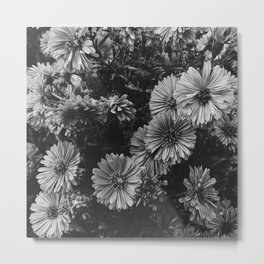 FLOWERS - FLORAL - BLACK AND WHITE Metal Print