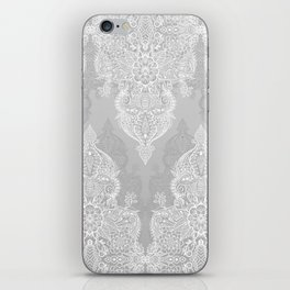 Lace & Shadows 2 - Monochrome Moroccan doodle iPhone Skin