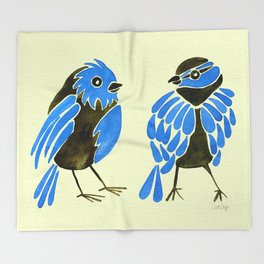 Blue Finches Throw Blanket