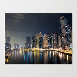 Dubai Marina on a cold night Canvas Print