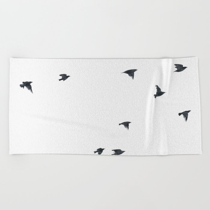 Ravens Birds in Black and White Beach Towel