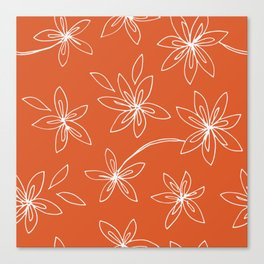 Flower Drawing on Orange Canvas Print