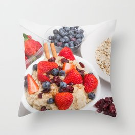 Oatmeal with Blueberries Strawberries Cranberries and Cinnamon Throw Pillow
