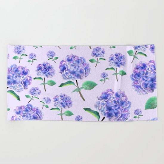 purple blue hydrangea in purple background  Beach Towel