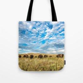 Grazing - Bison Graze Under Big Sky on Oklahoma Prairie Tote Bag