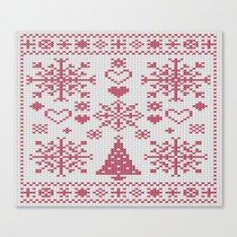 Christmas Cross Stitch Sampler Canvas Print