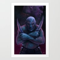 thanos Art Prints featuring Drax and Thanos by Jaime Gervais
