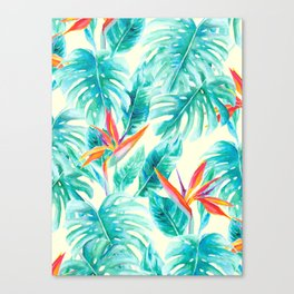 Tropical Paradise Pale Yellow Canvas Print