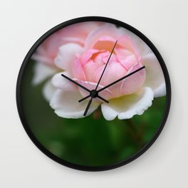 Light Pink Roses on Green Background, Symbol of Love and Friendship Wall Clock