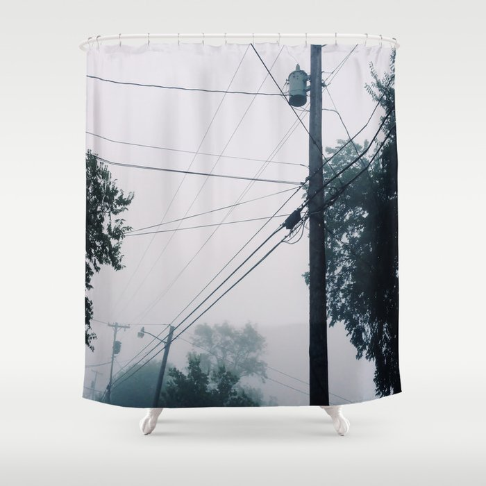 Foggy Lines Shower Curtain