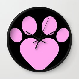 Cute Heart Paw Kawaii Print print Funny Love Gift Wall Clock