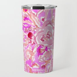 BRAINWASH Pink Floral Travel Mug