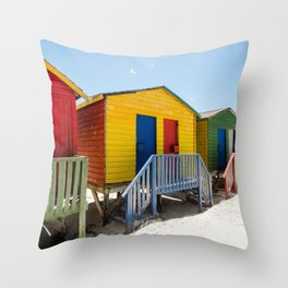 Colorful beach huts Throw Pillow