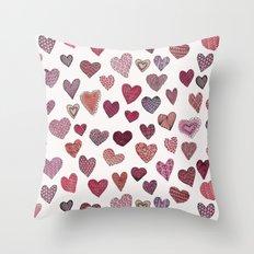 Artsy Hearts Throw Pillow