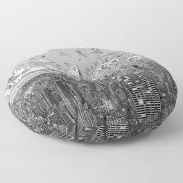 new york city skyline black and white Floor Pillow
