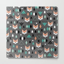 Geometric fox woodland forest pattern Metal Print